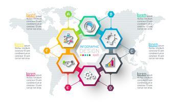 Geschäftshexagonaufkleber formen infographic auf Kreis. vektor
