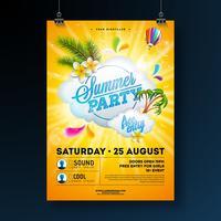 Vector Summer Party Flygdesign med blomma, palmer och solglasögon på solgul bakgrund. Sommar natur blommiga element, tropiska växter, luftballong och typografiska element