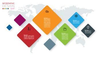 Kvadratisk infographics på abstrakt bakgrund