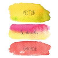 Set med färgglada penselsträngar akvarell på vit baclground, Vektor illustration.