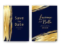 Bröllop inbjudningskort, Spara datum bröllopskort, Modernt kortdesign med gyllene geometriska och penselslag, Vektor illustration.