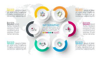 Sex cirklar med företagsikoninfographics.