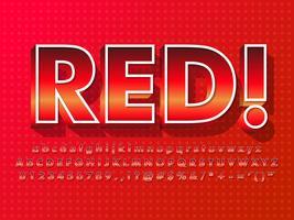 Röd teckensnitt med varm effekt