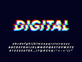 Glitches Rgb skärm alfabet med fel effekt