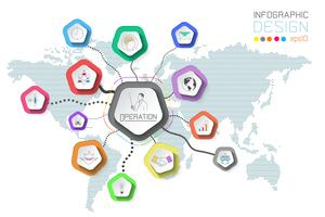Företagsetiketter infographic på världskartan bakgrund.