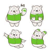 söt liten björntecknad doodle vektor