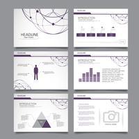 Präsentationsfolien Vorlagen aus Infografik-Elementen. Flyer und Faltblatt, Broschüre, Unternehmensbericht, Marketing, Werbung, Geschäftsbericht, Banner. vektor