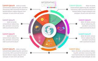 Företagsbroschyr infografisk med cirkel på centrum. vektor