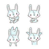 niedlicher kleiner Häschen- und Kaninchenkarikatur-Gekritzelvektor