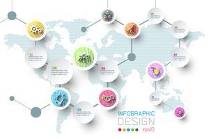 Business infographic med 8 steg.