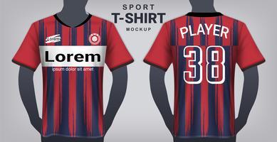 Fotbollströja och Sport T-Shirt Mockup Mall, Realistisk Grafisk Design Fram och Bakifrån för Uniforms Fotbollssats.