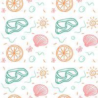 Doodle sommar mönster med korall, orange och sol vektor