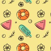 Gullig Doodle Summer Patern Med Icecream Lifesalver Och Watermelon vektor