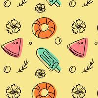 Nettes Gekritzel-Sommer patern mit Eiscreme Lifesalver und Wassermelone vektor