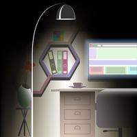 Büroraum in flacher Bauform vektor