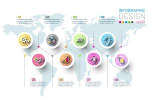 Business-Infografik mit 8 Schritten. vektor