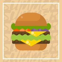Flache doppelte Käse-Burger-Sommer-Lebensmittel-Vektor-Illustration