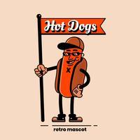 Retro- Hotdog-Charakter, der eine Flaggen-Illustration hält vektor