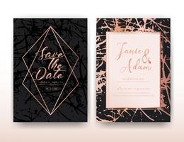 Hochzeitseinladungskarte, speichern die Datumshochzeitskarte, modernes Kartendesign mit goldenem geometrischem und Bürstenanschlag, Vektorillustration. vektor
