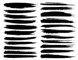 Satz Pinselstriche, schwarze Tintenschmutz-Pinselstriche. Vektor-illustration vektor