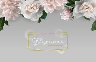 Hintergrund mit horizontalem Blumenrahmen. vektor