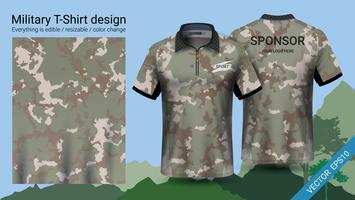 Militärpolo-T-Shirt mit Tarnmuster.