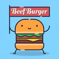 Burger Karaktär Ikon Vektor Illustration