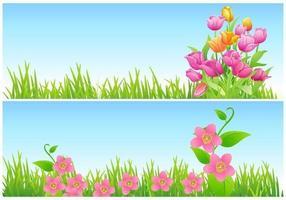 Tulpe und Blumenvektor-Tapeten-Satz