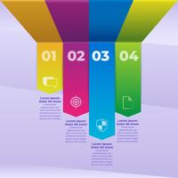 3d Infographic Colored Paper Strips Mall vektor