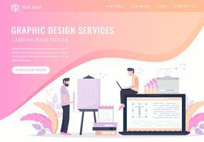 Landing Page der Vektor-Grafikdesign-Services