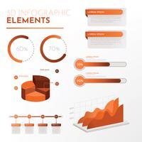Vektor-Satz der infographic Elemente 3d vektor