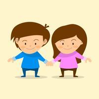 Platt par barn tecken uppsättning vektor illustration