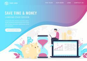 Vektor sparen Zeit und Geld Landing Page
