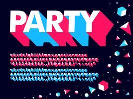 Modern 3D Geometric Party Font vektor