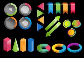 Colorfull 3D Infographic Elements vektoruppsättning vektor