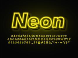 Glödande gul kontur neon typsnitt vektor