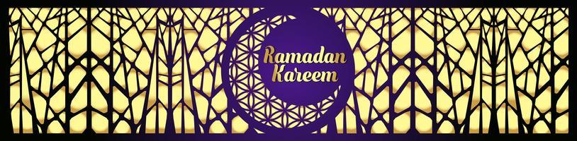 Ramadan Kareem islamisk hälsning design med lykta och kalligrafi.