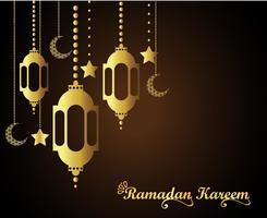 Islamischer Grußentwurf Ramadans Kareem mit Laterne und Kalligraphie.