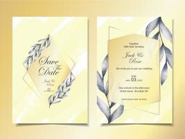 Lyckliga bröllopsinbjudningskort Mall med minimalistiska akvarellblad med guldram och vacker abstrakt bakgrund