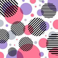 Abstrakt modern mode rosa och lila cirklar mönster med svarta linjer diagonalt på vit bakgrund.