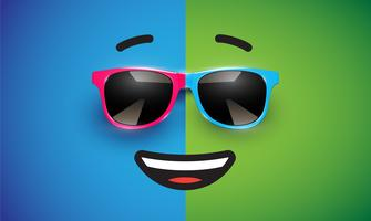 Hoher detiled bunter Emoticon mit Sonnenbrille, Vektorillustration vektor