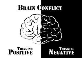 Hjärnkonflikt. Människan har både positivt och negativt tänkande.