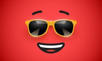 Högslagen färgstarka uttryckssymbol med solglasögon, vektor illustration