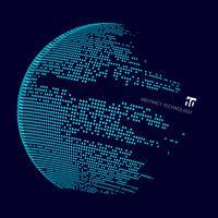 Große Datenkarte der abstrakten Technologie der Welt. Quadratmusterwicklung des Kreises.