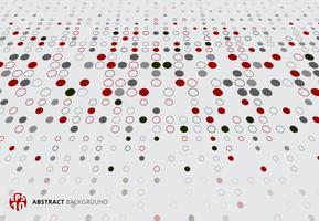Abstraktes Halbtonmuster punktiert rote, schwarze und graue Farbperspektive auf weißem Hintergrund.