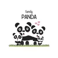 Netter Panda Family Father Mother und Baby.
