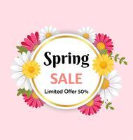 Frühlingsverkaufshintergrund mit schöner Blume und rundem Rahmen. 3D-Vektor-Illustration Konzept.