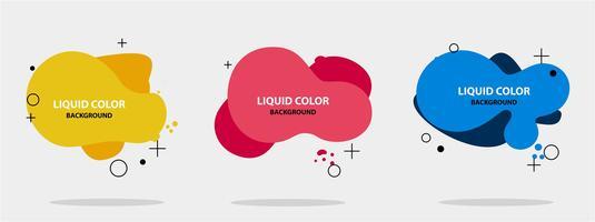 Abstrakte flüssige Form. Moderner abstrakter Fahnensatz. Flache geometrische flüssige Form mit verschiedenen Farben. Moderne Banner Vorlage. Vorlage für die Gestaltung eines Logos, Flyer der Präsentation. Fließendes Design.