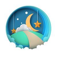 Tecknat papper nattlandskap. Mån, stjärna, moln, väg.