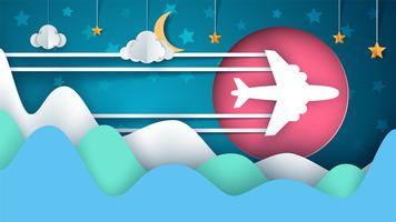 Flygplan illustration. Tecknat papperslandskap. Moln, måne, stjärna, mountan.